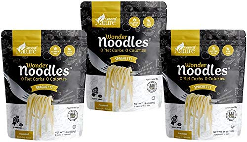 Zero Calorie Wonder Noodles - 3 Pack | Spaghetti | Kosher, Vegan-Friendly, Carb-Free Noodles | No Sugar, No Fat | Ready to Eat Gluten Free Pasta Diet Food | (42oz)