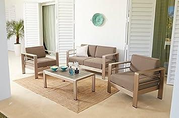 Conjunto sofas terraza y jardin inox cojines gris: Amazon.es ...