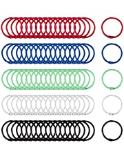 Biubee 100 Pcs Colorful Book Loose Leaf Binder Rings- 30mm Metal Loose Paper Notebook Rings Keychain Rings for Cards, Document Stack and Swatches