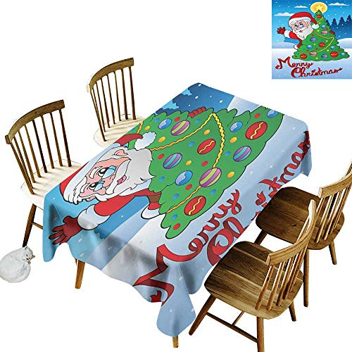 kangkaishi Santa Leakproof Polyester Long Tablecloth Outdoor and Indoor use Santa Claus Waving Hello Behind a Colorful Festive Xmas Pine Tree in Snowy Forest W52 x L70 Inch ()