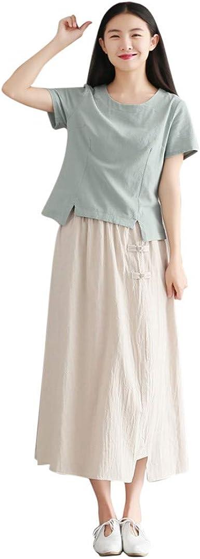 Shenye falda larga de algodón con cintura elástica estilo bohemio para mujer Beige beige Talla única: Amazon.es: Ropa y accesorios