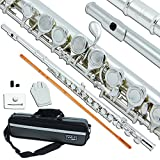 Bailando High Grade Silver Plated Flute, Offset G, B-Foot, Split E Mechanism, Closed Hole and Excellent Tremolo