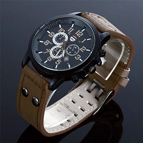 Shalleen Coffee Military Leather Waterproof Date Quartz Analog Army Men's Quartz Wrist Watches