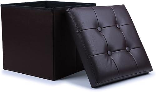 WoneNice Folding Storage Ottoman Cube Foot Rest Stool Seat Dark Brown