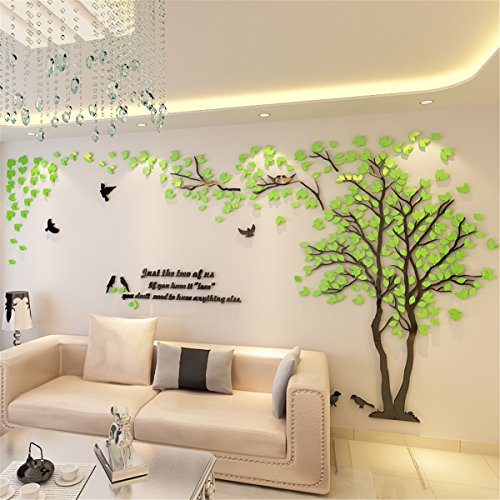 Acrylic Stickers (DIY 3D Giant Couple Tree Wall Decals Wall Stickers Crystal Acrylic Wall Décor Arts (L, Green, Right to Left))