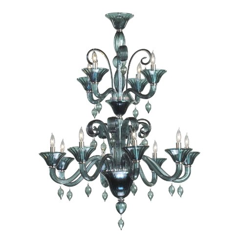 Kathy Kuo Home Treviso Blue Grey 12 Light Murano Glass Style Chandelier