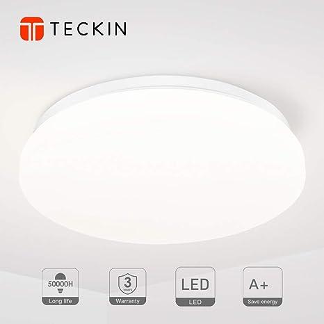 Deckenlampe LED Deckenleuchte badezimmer lampe 18W TECKIN lampen led  deckenleuchte bad für Schlafzimmer Küche Balkon Büro Wohnzimmer 4500K  neutral ...
