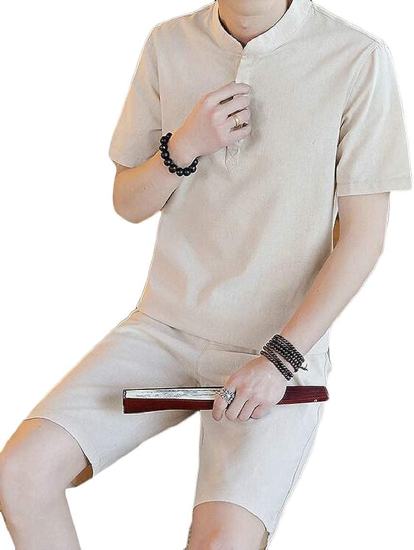 WAWAYA Mens Short Sleeve Linen T-Shirts Two Pieces Shorts Sweatsuit Outfit Set