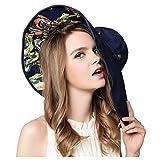 FTSUCQ Womens Sun Hat Floppy UPF 50+ Bonnet Folding Large Brim Cap