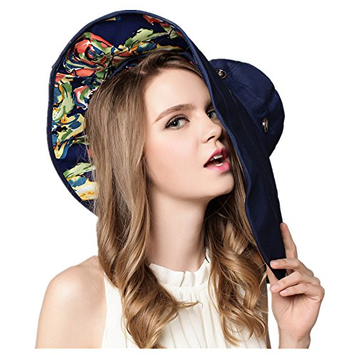 FTSUCQ Womens Sun Hat Floppy UPF 50+ Bonnet Folding Large Brim Cap,Navyblue