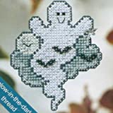 Moonlight Ghost Beaded Counted Cross Stitch Halloween Ornament Kit Mill Hill 2008 Autumn Harvest MH18-8205