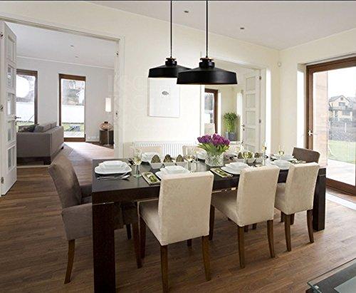 OAKLIGHTING Modern Pendant Light Fixture For Living Room Aluminum Shade D 15.7'' (Black)
