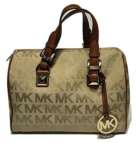 Michael Kors MD Grayson Satchel Handbag Signature MK Jacquard Beige Camel Luggage with Cross Body Shoulder Strap (Bag Michael Kors Cross)
