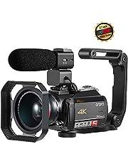 Telecamera ORDRO 4K Ultra HD, 3.1 Touch Screen Capacitivo ad Alta Definizione IPS con Microfono, Obiettivo Grandangolare e Paraluce