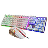 niceeshop(TM) Wired Gaming Keyboard and Mouse Combo with Rainbow Backlit for Computer,104keys Waterproof Mechanical Keypad,Gold,niceeshop(TM)