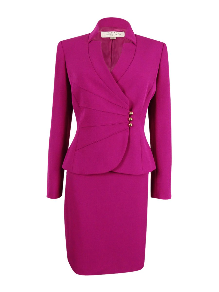 Tahari Women's Petite Asymmetrical-Button Skirt Suit (2P, Fuchsia)