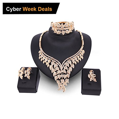 Crystal Costume Jewelry (EVERRICH Crystals Bridal Flower Circle Tear Drop Rose Gold Plated Earring Necklace Wedding Engagement Jewelry Sets,4 Pairs)
