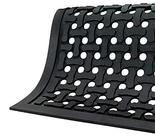 M A Matting – 420010046 Comfort Flow Commercial-Grade Drainable Anti-Fatigue Mat for Wet Areas Slip Resistant, Antimicrobial, Grease and Oil Proof, Chemical Resistant, Welding Safe Black, 4 x 6 , 3 8