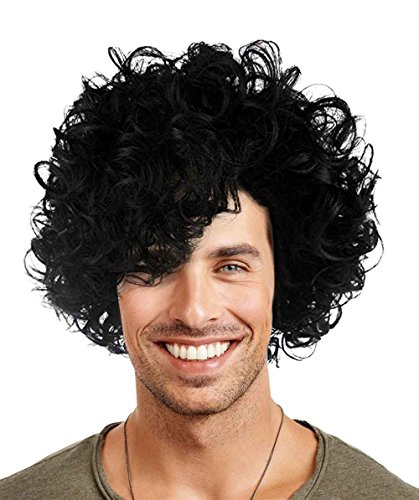 Halloween Party Online 80's Pop Star Prince Wig, Black Adult HM-082A (80's Unisex Wig)
