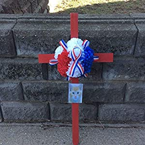 Cemetery Wooden Cross, Soldiers Memorial, Cemetery Artificial Flowers, Picture Frame, Roadside Memorial 110