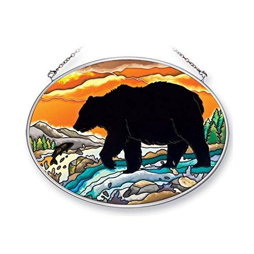 Amia 41352 Bear Silhouette 7 by 5-1/2-Inch Oval Sun Catcher, Medium