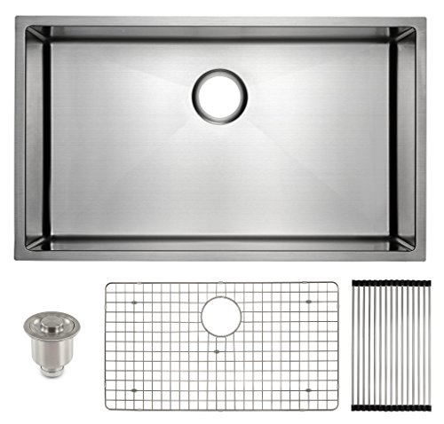 Gauge Corner - Frigidaire Undermount Stainless Steel Kitchen Sink, 10mm Radius Corners, 16 Gauge, Deep Basin, 32