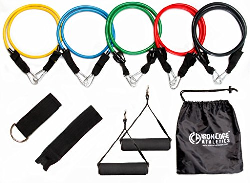 Iron-Core-Athletics-10-Piece-Resistance-Band-Set-Includes-Door-Anchor-Ankle-Strap-Two-Foam-Handles-and-Resistance-Tube-Carrying-Case
