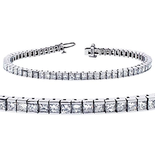 5.00 CT TW Channel Set 100% Natural Princess Cut Diamond Tennis Bracelet in 14k White Gold (F-G-color/VS2-SI1-clarity) Set Princess Cut Diamond Bracelet
