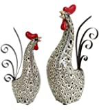 Benzara Ceramic Metal Rooster with Spotted Black Pattern, Set of 2