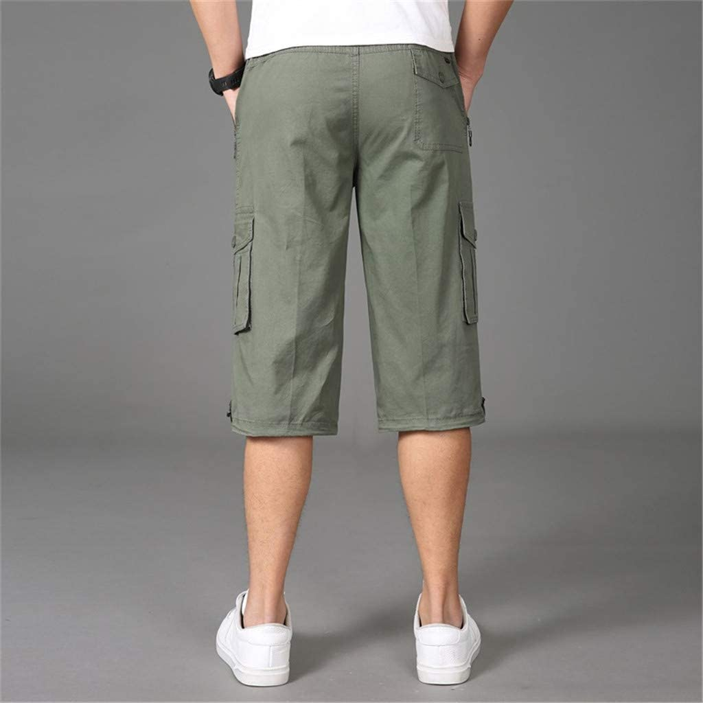 yoyorule Casual Pants Stylish Mens Seven-Point Multi-Zip Multi-Pocket Built-in Corded Cargo Shorts