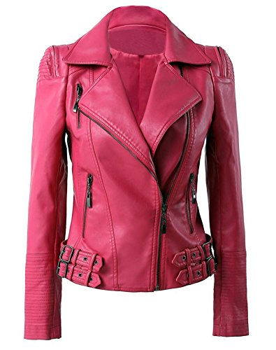 Hot Pink Jacket (Benibos Womens Faux Leather Zip Up Moto Biker Jacket With Many Details (L, Hot pink))