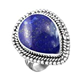 5.10ctw, Genuine Lapis 10x14mm Pear & .925 Silver Plated Handmade Fashion Ring (Size-7)
