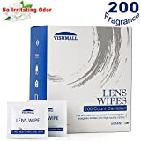 VISUMALL 200 Lens Wipes - Pre-Moistened Cleaning Wipes Portable Travel Cleaner with Light Fragrance Nonirritating (Jasmine Scent)