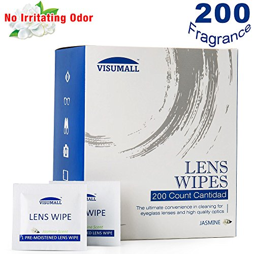 VISUMALL 200 Lens Wipes - Pre-Moistened Cleaning Wipes Portable Travel Cleaner with Light Fragrance Nonirritating (Jasmine - From Scratches Removing Lenses Eyeglass