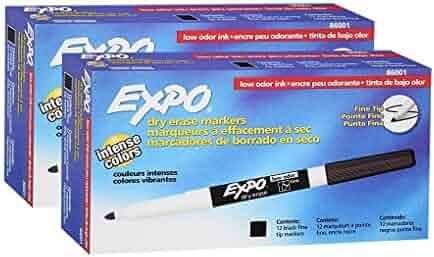 Expo Low Odor, Fine Tip, Black, Dry, Erase Marker, 2 Packs of 12,