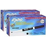 Expo 86001 Low Odor, Fine Tip, Black, Dry, Erase Marker, 2 Packs of 12