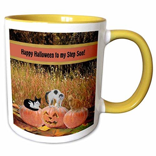 3dRose Beverly Turner Halloween Design - Three Cats on Three Pumpkins, Happy Halloween to my Step Son - 15oz Two-Tone Yellow Mug (mug_157905_13) ()