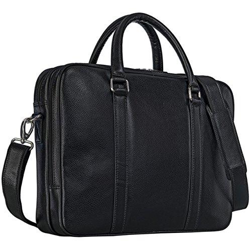 STILORD elegante borsa in pelle nera donna, borsa Affari business bag 15.6 pollici Cartella, borsa a tracolla pelle nero