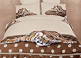 Sleepy Tiger - Safari Themed - 4 Pc. Extra Long Twin Size Duvet Cover Bedding Set (1 Duvet Cover, 1 Fitted Sheet, 1 Sham, 1 Pillow Case) - Includes a Gift Box and Gift Bag - SAVE BIG ON BUNDLING!