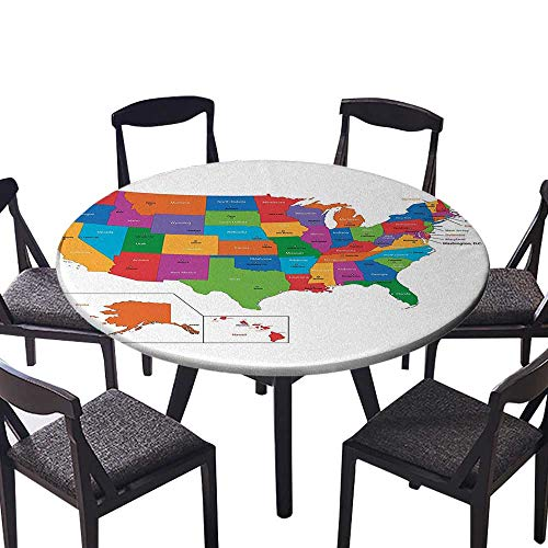 Easy-Care Cloth Tablecloth Colorful USA Map with States