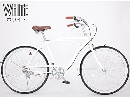 21Technology 26インチ ビーチクルーザー 自転車 B00A2H3ZYO ホワイト ホワイト