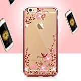 HuaYang Bling Secret Garden Soft Rose Gold Electroplate Case Cover for iPhone 6/6s 4.7 (Flower Color: Pink)