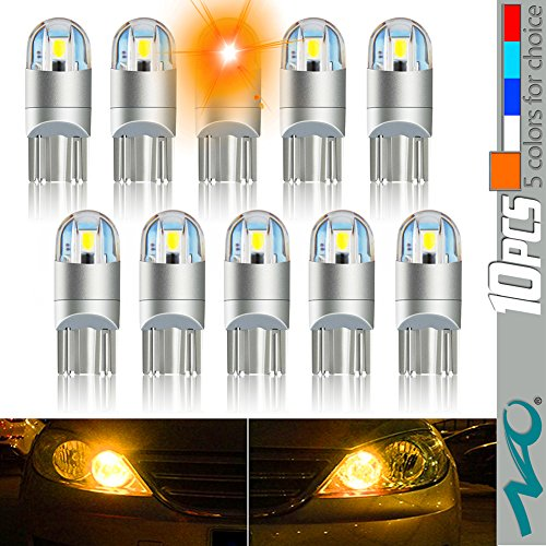 10pcs Orange 194 T10 LED Light Bulbs W5W 168 2825 Car Interior Dome Map wedge License Plate LED Bulb Lights 147 152 158 159 161 168 184