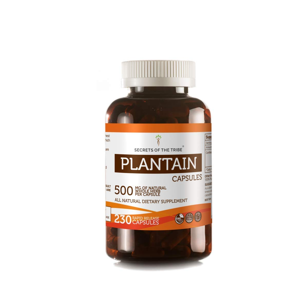 Plantain 230 Capsules, 500 mg, Organic Plantain (Plantago Major) Dried Leaf (230 Capsules) by Secrets of the Tribe