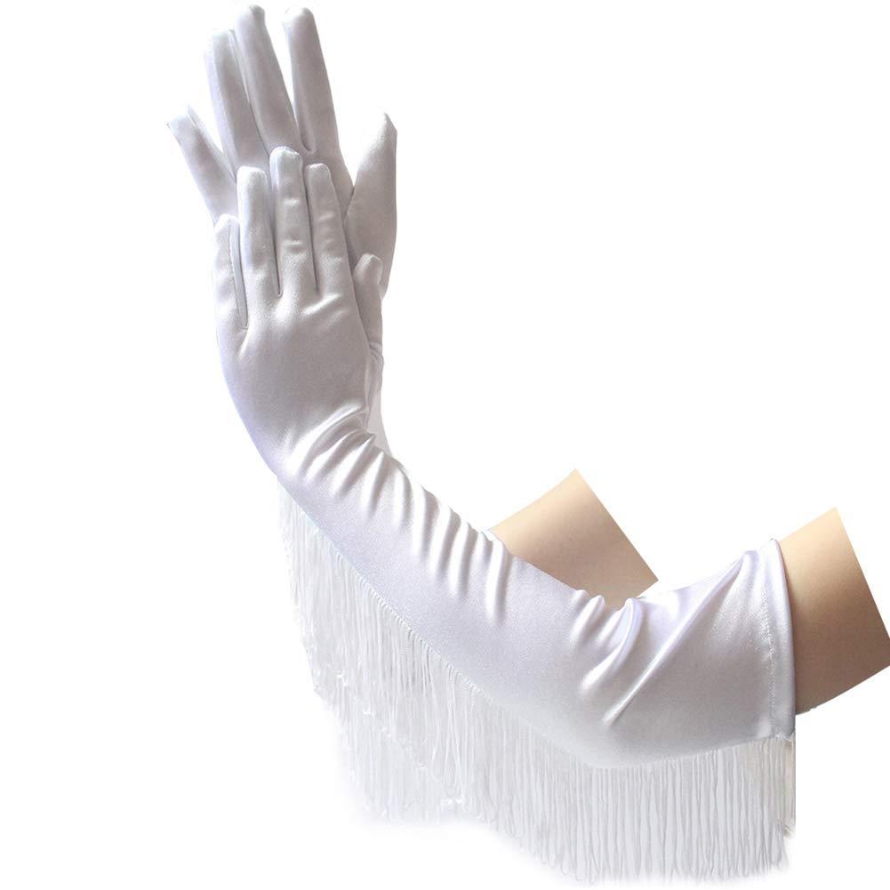 Nikgic Fringe Lange Satinhandschuhe Latin Dance Performance Handschuhe Satin Fringe Brauthandschuhe