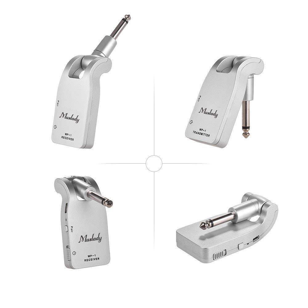 Muslady 2.4G Wireless Guitar System Transmitter /& Receiver Built-in Rechargeable Lithium Battery 30M Transmission Range for Electric Guitar Bass