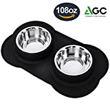 Large Dog Bowls - 108 oz Stainless Steel Dog Bowls Set with No Spill Non-Skid Silicone Mat Pet Bowls for Food and Water Feeder Bowls for Medium to Large Dogs (Black)