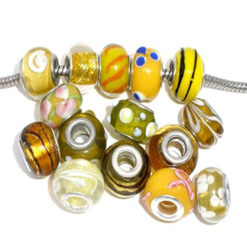 Pack of 10 Beads You Choose Colors Glass Lampwork Murano Glass Beads for European Style Bracelets. Fits Pandora, Biagi, Troll, Chamilla and Many Others (Select Your Color From the Menu) (YELLOW-GOLD)