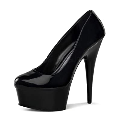 Amazon.com | Classic Shiny Black Pumps with 1.75 Inch Platform and ...