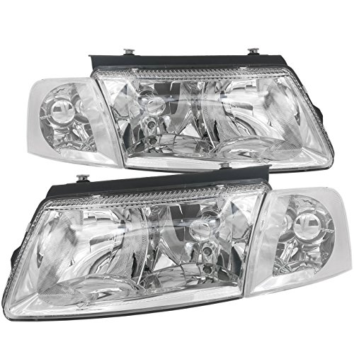 AJP Distributors Headlights Head Lamps Lights with Corner Turn Signal Lamps Euro VAG For VW Passat B5 (Chrome Housing Clear Lens) ()